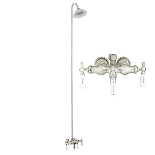 BARCLAY 4031-PL-CP 9 INCH WALL MOUNT LEVER HANDLES TUB FILLER WITH SUNFLOWER SHOWERHEAD AND DIVERTER