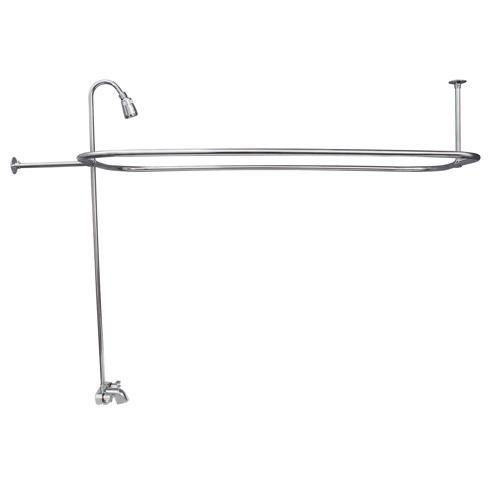 BARCLAY 4190-48 48 INCH WALL MOUNT BLADE HANDLES TUB FILLER WITH SHOWERHEAD AND RECTANGULAR SHOWER UNIT
