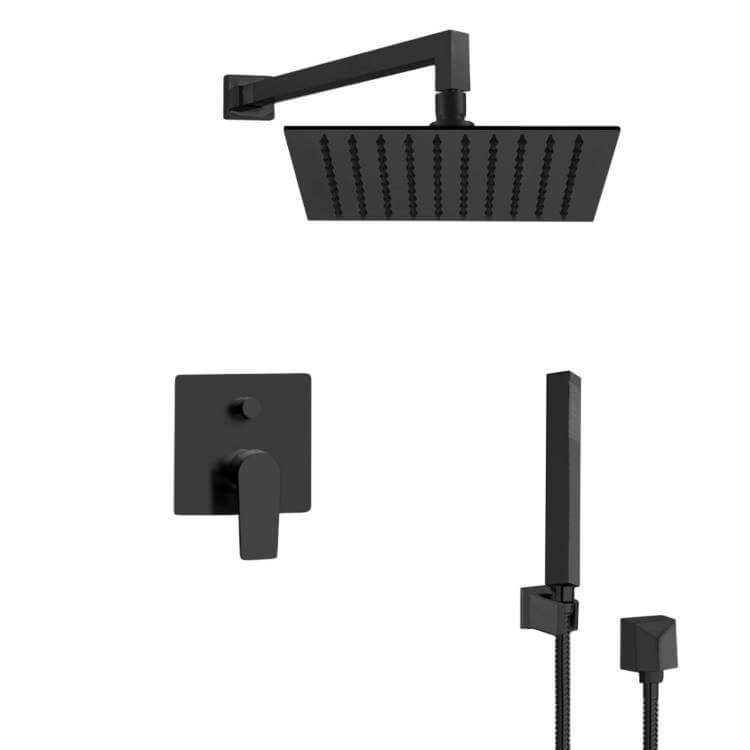 REMER SFH36-16 ORSINO MATTE BLACK SHOWER SET WITH 16 INCH RAN SHOWER HEAD AND HAND SHOWER