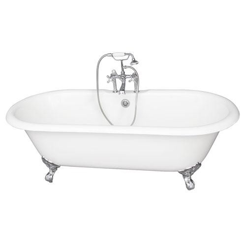 BARCLAY TKCTDRH61-CP2 COLUMBUS 60 INCH CAST IRON FREESTANDING CLAWFOOT SOAKER BATHTUB WITH METAL CROSS HANDLE TUB FILLER AND HANDSHOWER IN CHROME