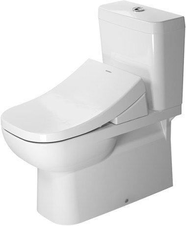 DURAVIT 214209 D-CODE 14-1/8 X 27-3/8 INCH TOILET CLOSE-COUPLED, WASHDOWN MODEL FOR VARIO CONNECTOR SET WITH WONDERGLISS, BOWL ONLY