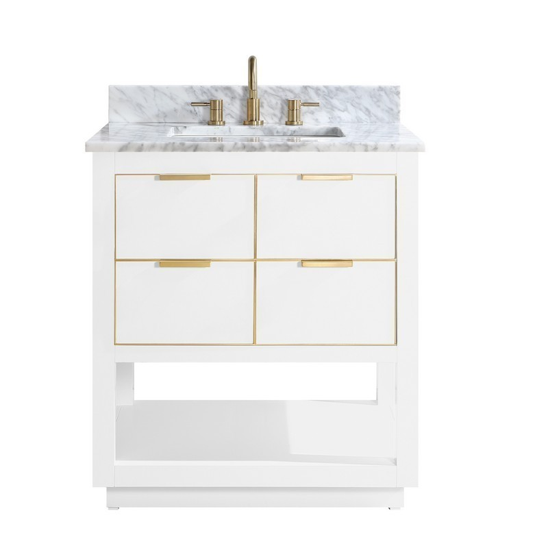 AVANITY ALLIE-VS31-WTG-C ALLIE 31 INCH VANITY COMBO IN WHITE WITH GOLD TRIM AND CARRARA WHITE MARBLE TOP