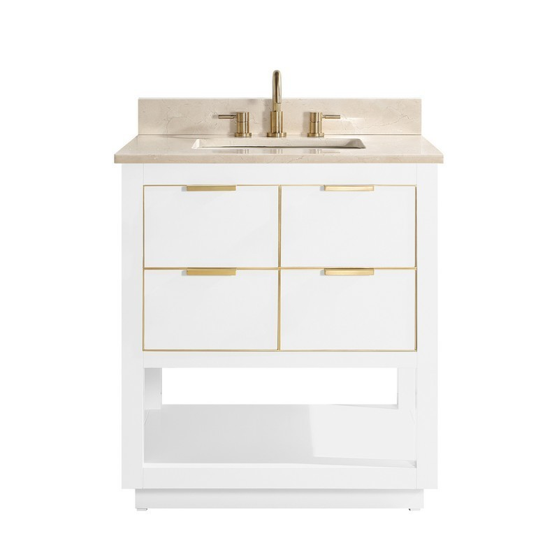 AVANITY ALLIE-VS31-WTG-D ALLIE 31 INCH VANITY COMBO IN WHITE WITH GOLD TRIM AND CREMA MARFIL MARBLE TOP