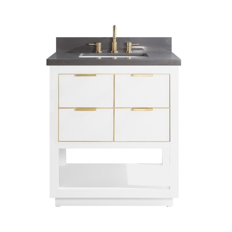 AVANITY ALLIE-VS31-WTG-GQ ALLIE 31 INCH VANITY COMBO IN WHITE WITH GOLD TRIM AND GRAY QUARTZ TOP