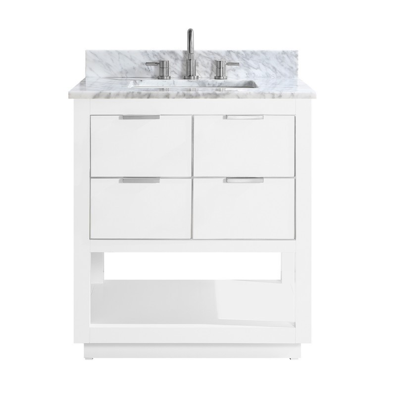 AVANITY ALLIE-VS31-WTS-C ALLIE 31 INCH VANITY COMBO IN WHITE WITH SILVER TRIM AND CARRARA WHITE MARBLE TOP
