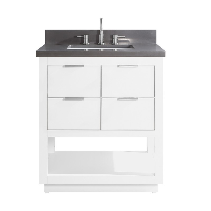 AVANITY ALLIE-VS31-WTS-GQ ALLIE 31 INCH VANITY COMBO IN WHITE WITH SILVER TRIM AND GRAY QUARTZ TOP