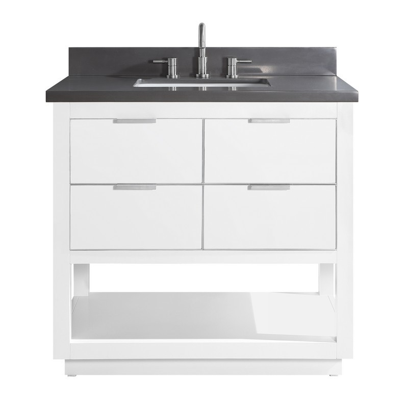 AVANITY ALLIE-VS37-WTS-GQ ALLIE 37 INCH VANITY COMBO IN WHITE WITH SILVER TRIM AND GRAY QUARTZ TOP