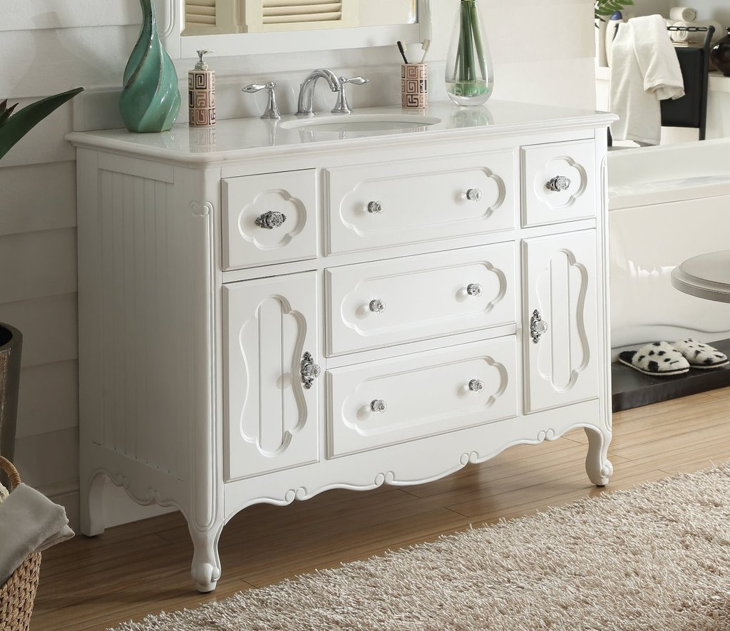 CHANS FURNITURE GD-1522W-48 BENTON COLLECTION 48 INCH VICTORIAN COTTAGE STYLE KNOXVILLE BATHROOM SINK VANITY
