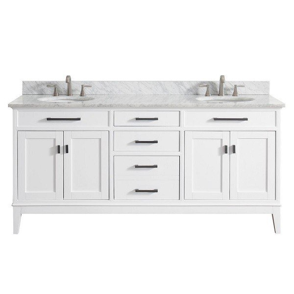AVANITY MADISON-VS72-WT-C MADISON 73 INCH DOUBLE VANITY IN WHITE WITH CARRERA WHITE MARBLE TOP