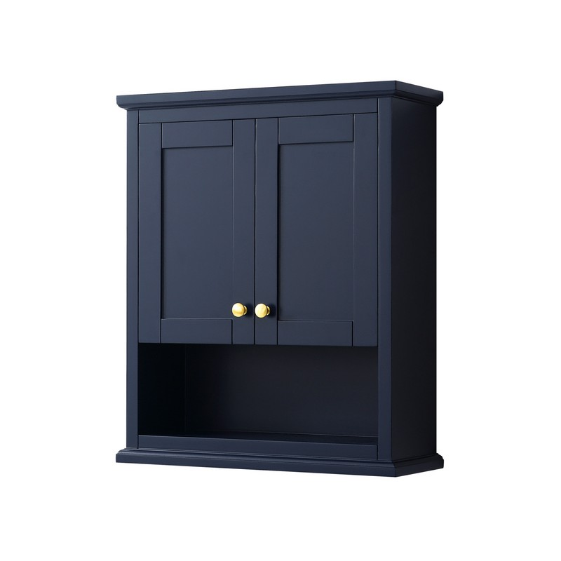 WYNDHAM COLLECTION WCV2323WCBL AVERY 25 INCH WALL-MOUNTED BATHROOM STORAGE CABINET IN DARK BLUE