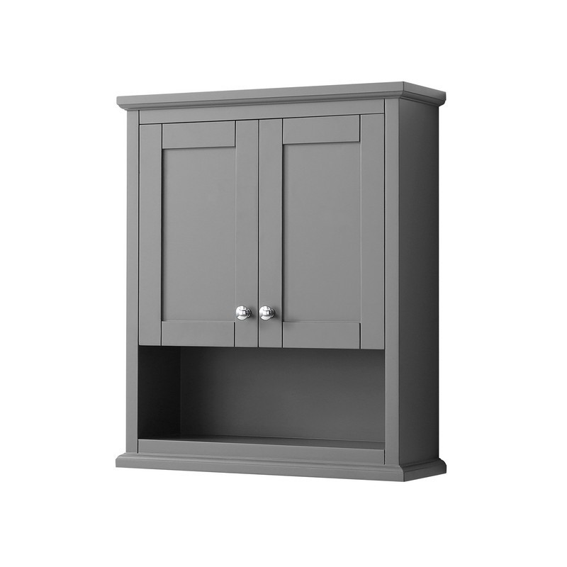 WYNDHAM COLLECTION WCV2323WCKG AVERY 25 INCH WALL-MOUNTED BATHROOM STORAGE CABINET IN DARK GRAY