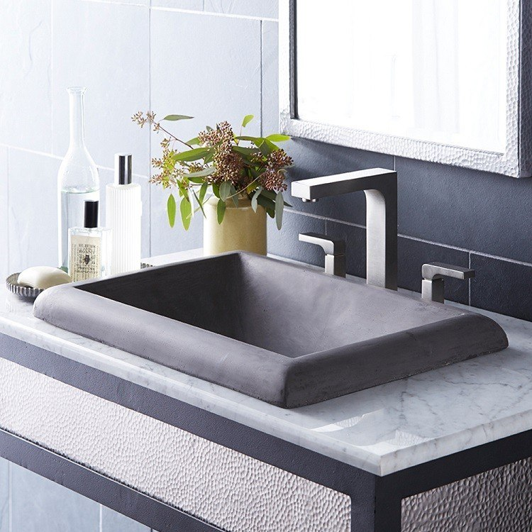 Native Trails NSL2216 Montecito 21-1/2 Inch Hancrafted NativeStone Drop-In Concrete Bathroom Sink