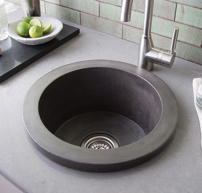 Native Trails NSB1607 Olivos 16 Inch Handcrafted NativeStone Concrete Sink for Bar and Prep
