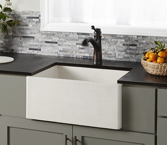 Native Trails NSK2418 Farmhouse 24 Inch NativeStone Concrete Apron Front Sink