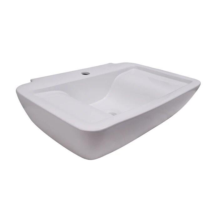 BARCLAY 4-112WH LEEDS 25 7/8 INCH SINGLE BASIN WALL MOUNT BATHROOM SINK - WHITE