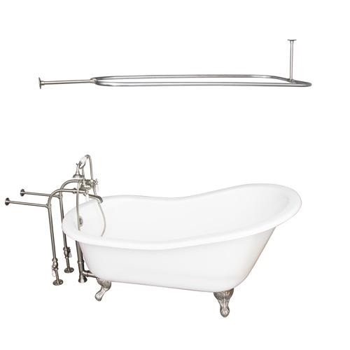 BARCLAY TKCTSN67-BN3 ICARUS 67 INCH CAST IRON FREESTANDING SOAKER BATHTUB IN WHITE WITH PORCELAIN LEVER TUB FILLER AND 54 INCH RECTANGULAR SHOWER ROD IN BRUSHED NICKEL