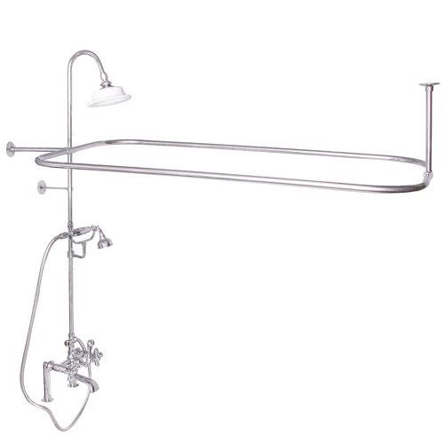 BARCLAY 4065 DECK MOUNT THREE METAL HANDLES TUB FILLER WITH DIVERTER AND CODE RECTANGULAR SHOWER UNIT
