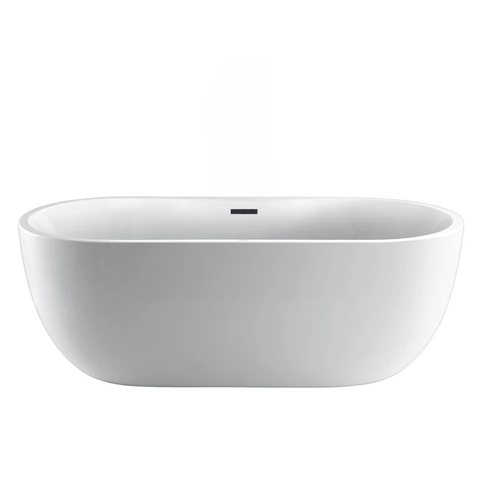 BARCLAY ATOVN56BIG PAN 55 1/2 INCH ACRYLIC FREESTANDING OVAL SOAKER BATHTUB WITH INTEGRAL DRAIN AND OVERFLOW AND TAP DECK - NO DRILLINGS IN WHITE