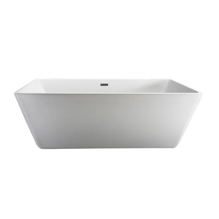BARCLAY ATRECN71WIG VAUGHN 70 7/8 INCH ACRYLIC FREESTANDING RECTANGULAR SOAKER BATHTUB WITH INTEGRAL DRAIN AND OVERFLOW - WHITE