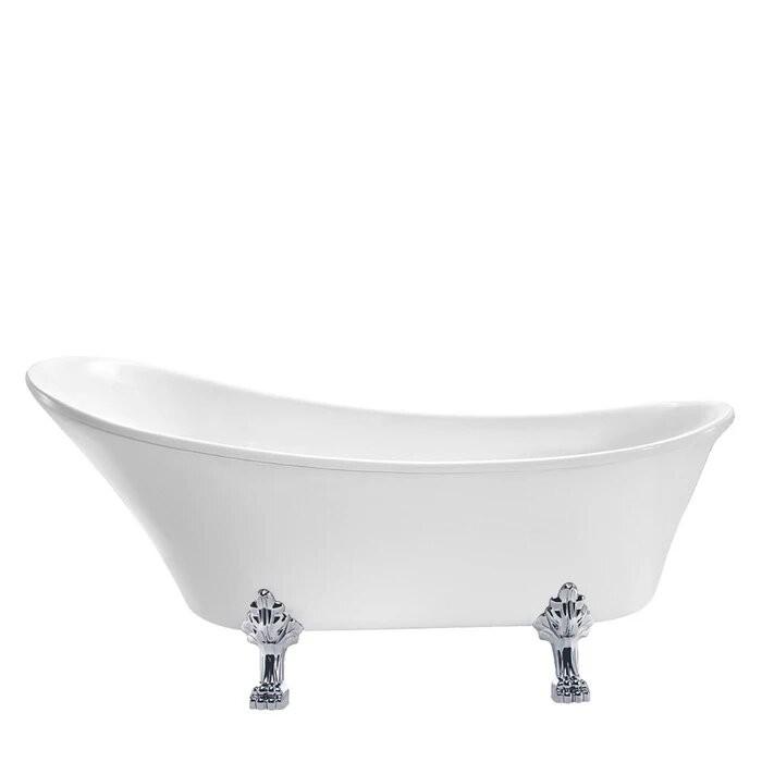 BARCLAY ATSN68LP-WH LIVINGSTONE 69 INCH ACRYLIC FREESTANDING CLAWFOOT OVAL SOAKER SLIPPER BATHTUB - WHITE