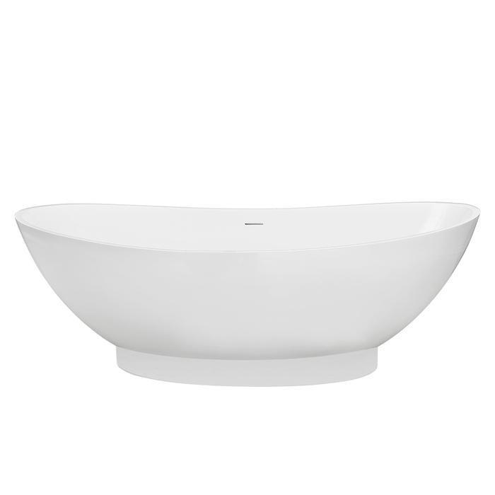 BARCLAY RTDSN71 JULIANNA 70 3/4 INCH RESIN FREESTANDING OVAL SOAKER DOUBLE SLIPPER BATHTUB