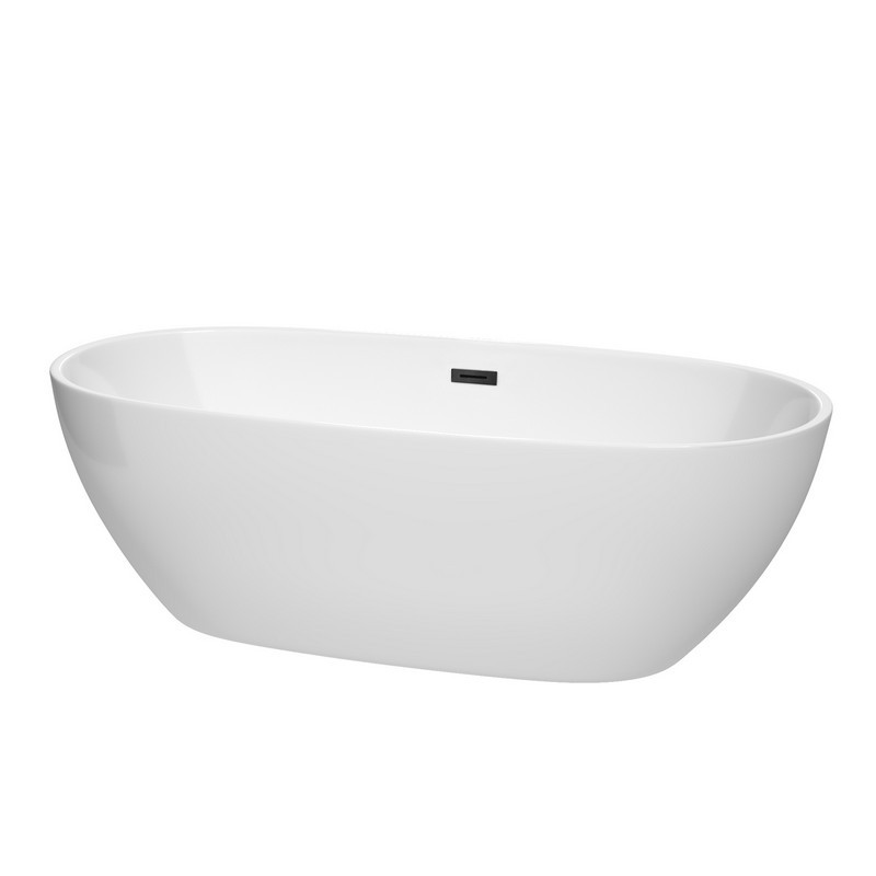 WYNDHAM COLLECTION WCBTK156171TRIM JUNO 71 INCH FREE-STANDING BATHTUB IN WHITE WITH DRAIN AND OVERFLOW TRIM