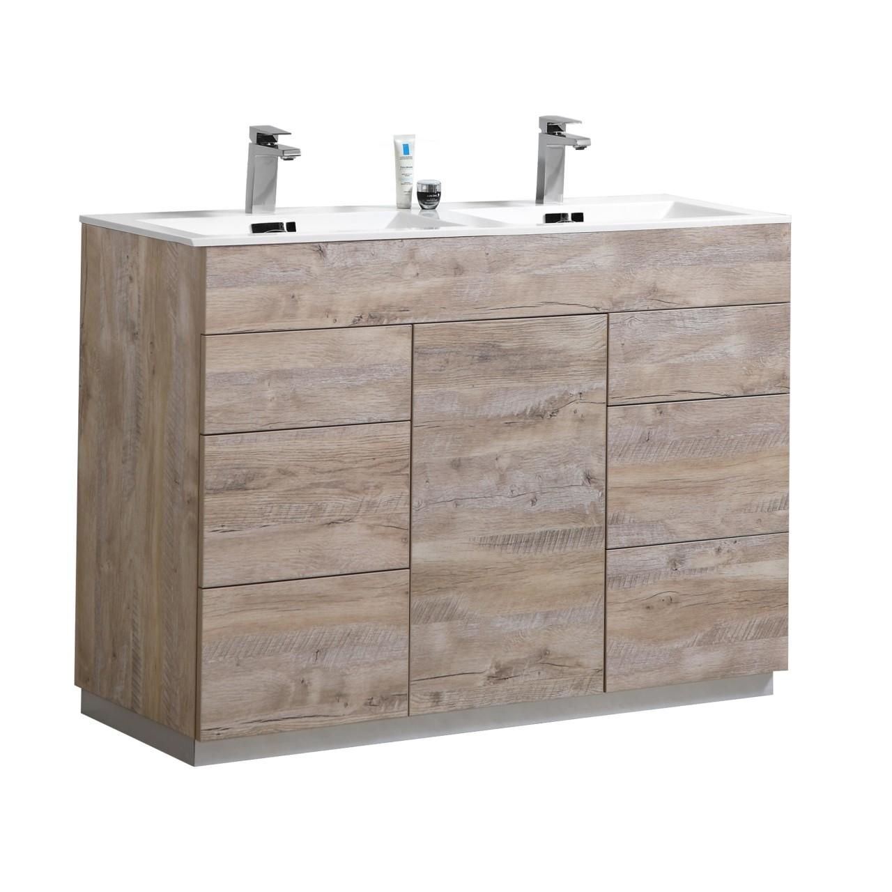 Kubebath Kfm48d Nw Milano 48 Inch Double Sink Nature Wood Modern Bathroom Vanity Kfm48d Nw Kfm48dnw