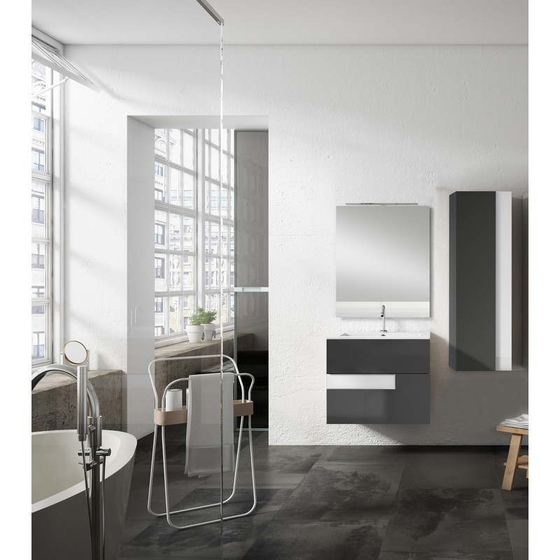 LUCENA BATH 3062-04/WHITE VISION 24 INCH 2 DRAWER VANITY WITH CERAMIC SINK IN GREY WITH WHITE GLASS HANDLE