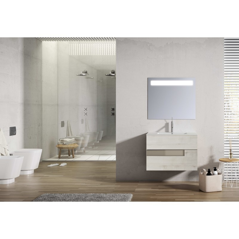 LUCENA BATH 3066 VISION 32 INCH 2 DRAWER VANITY WITH CERAMIC SINK IN ABEDUL WITH TORTORA GLASS HANDLE