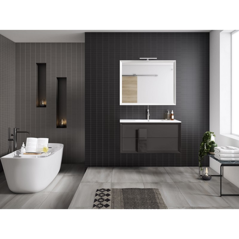 LUCENA BATH 4303 DÉCOR CRISTAL 24 INCH 2 DRAWER VANITY WITH CERAMIC SINK IN GREY WITH GREY GLASS HANDLE