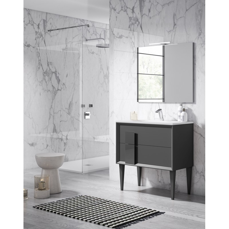LUCENA BATH 43031 DÉCOR CRISTAL 24 INCH FREESTANDING 2 DRAWER VANITY WITH CERAMIC SINK IN GREY WITH GREY GLASS HANDLE