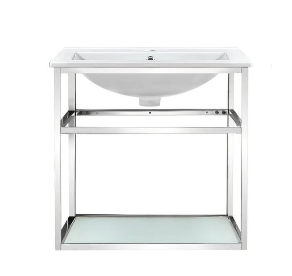 SWISS MADISON SM-BV552 PIERRE 24 INCH SINGLE BATHROOM VANITY WITH METAL FRAME AND OPEN SHELF