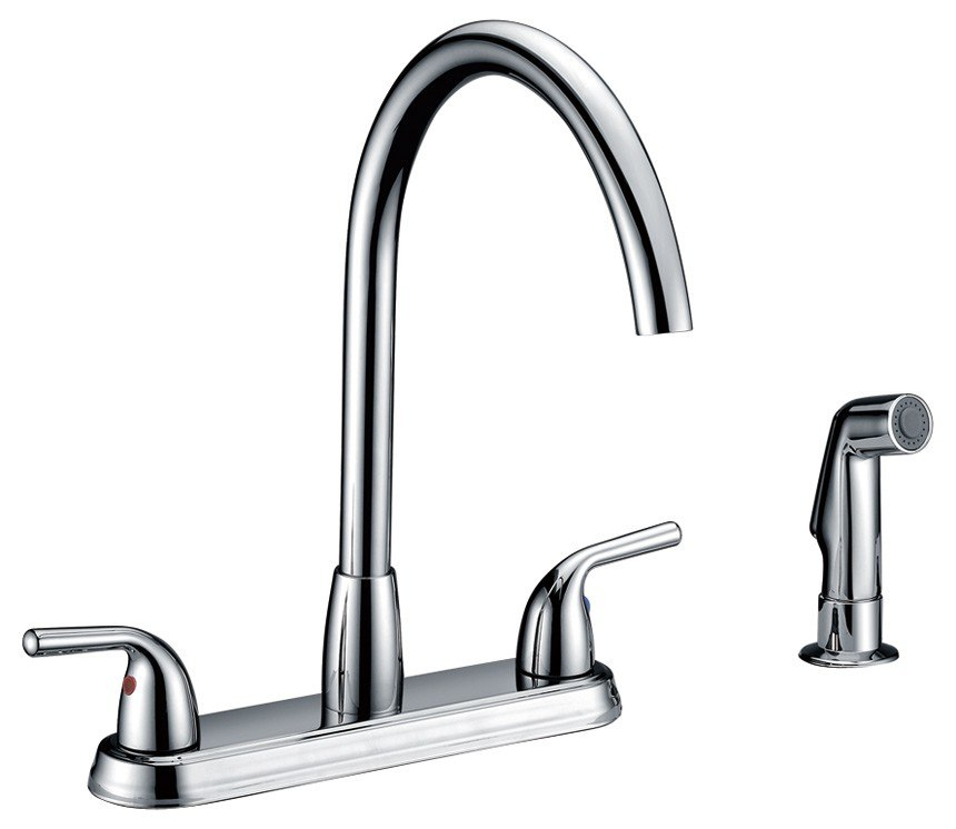DOWELL USA 8002 004 DOUBLE HANDLE KITCHEN FAUCET WITH SIDE SPRAY