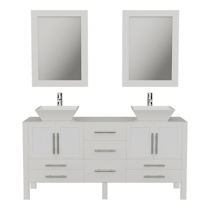 CAMBRIDGE PLUMBING 8119WF 63 INCH SOLID WHITE WOOD VANITY WITH PORCELAIN COUNTER TOP AND TWO MATCHING VESSEL SINKS AND TWO LONG-STEMMED FAUCETS AND DRAINS