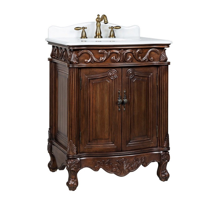 Chans Furniture Bc 2917w Tk 27 27 Inch Hayman Bathroom Sink Vanity With White Marble Counter