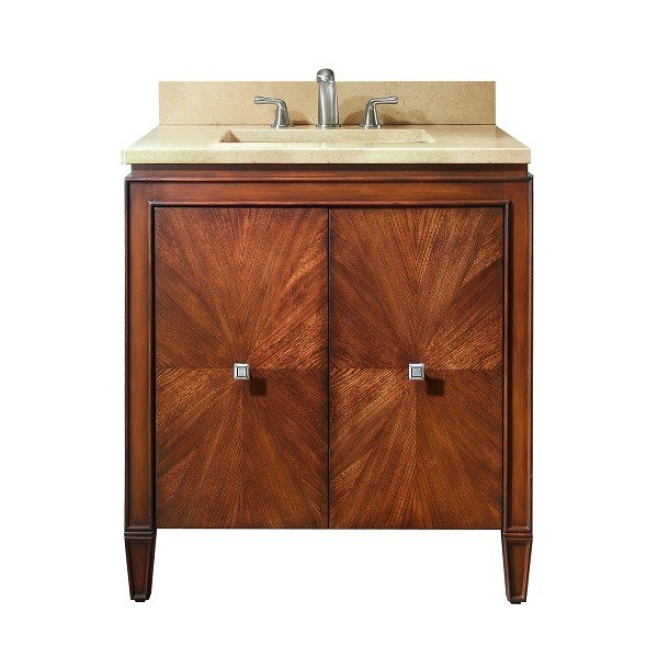 AVANITY BRENTWOOD-VS31-NW-B BRENTWOOD 31 INCH VANITY COMBO WITH GALALA BEIGE MARBLE TOP