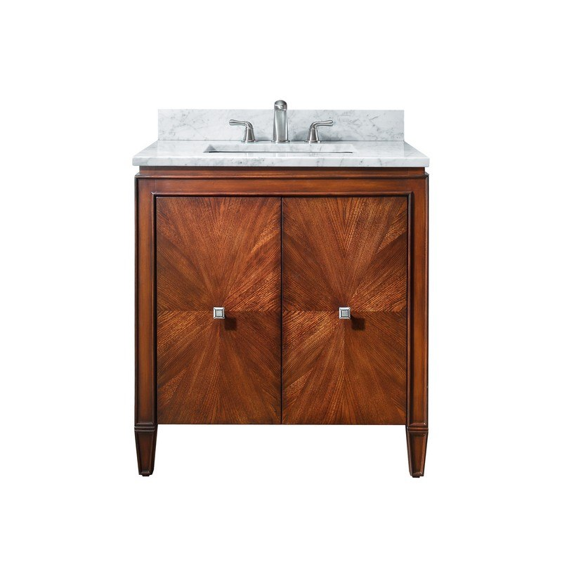 AVANITY BRENTWOOD-VS31-NW-C BRENTWOOD 31 INCH VANITY COMBO WITH CARRERA WHITE MARBLE TOP