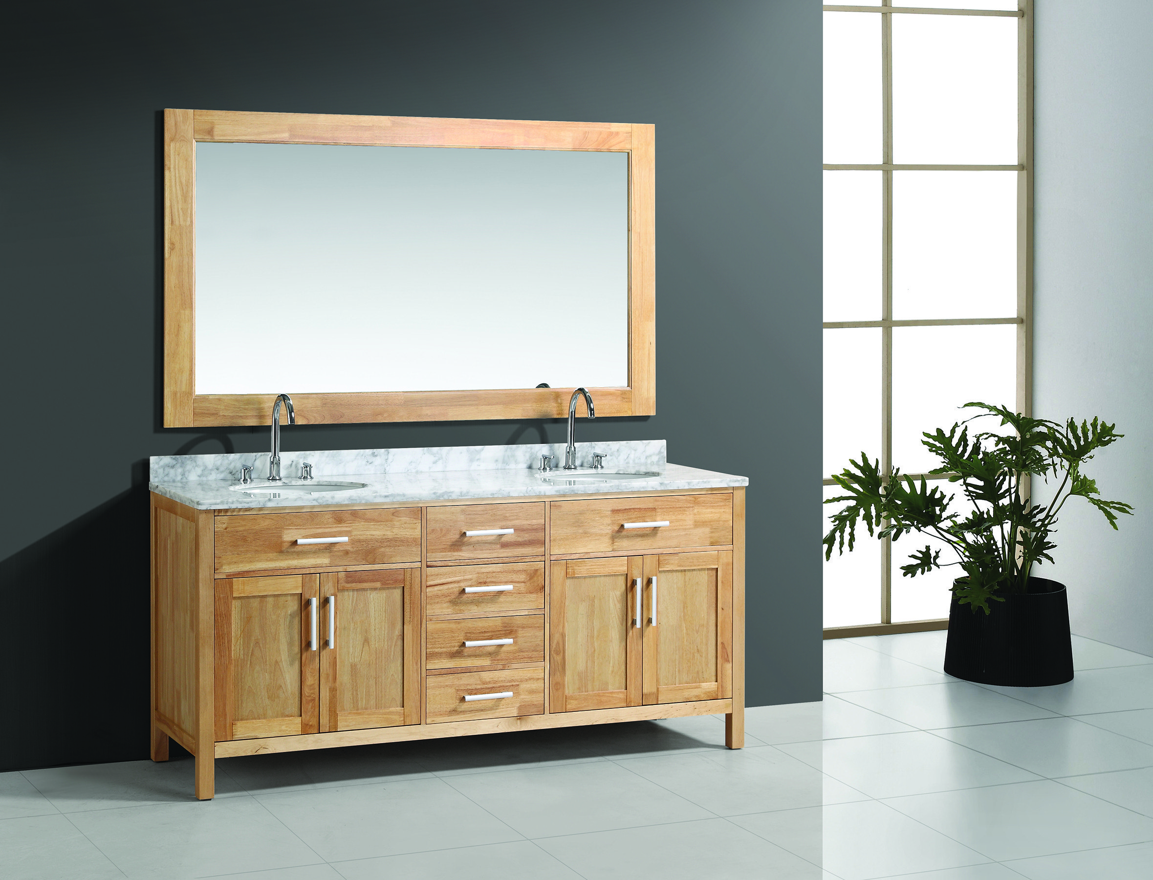 Design Element  DEC076B-O London 72 Double Sink Vanity Set in Oak Color