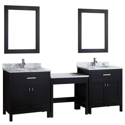 Design Element DEC076EX2_MUT Two London 30 Single Sink Vanity Set in Espresso and One Make-up table in Espresso