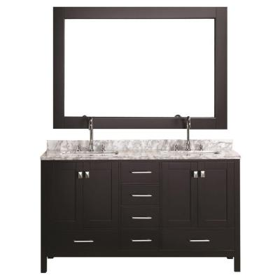 Design Element DEC082A London 60 Inch Double Sink Vanity Set in Espresso Finish