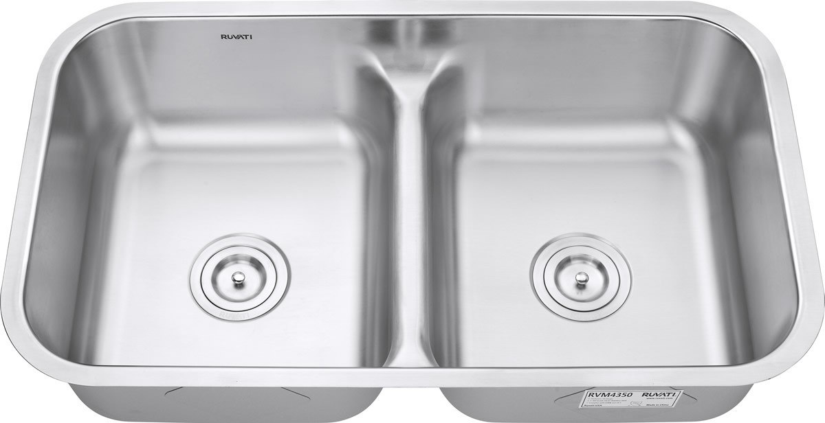 Ruvati RVM4350 Parmi Undermount 18 Gauge 32 Inch Low Divide Kitchen Sink Double Bowl