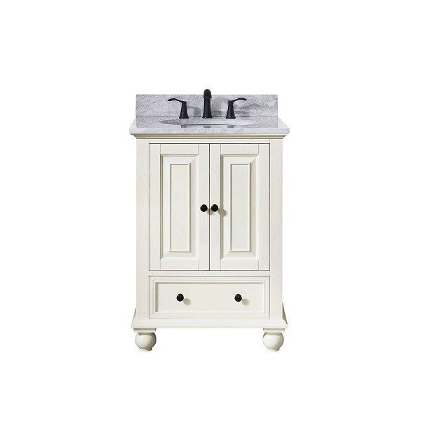 AVANITY THOMPSON-VS24-FW-C THOMPSON 25 INCH VANITY IN FRENCH WHITE WITH CARRERA WHITE MARBLE TOP