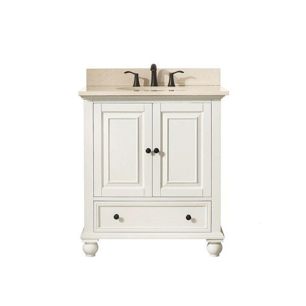 AVANITY THOMPSON-VS30-FW-B THOMPSON 31 INCH VANITY IN FRENCH WHITE WITH GALALA BEIGE MARBLE TOP