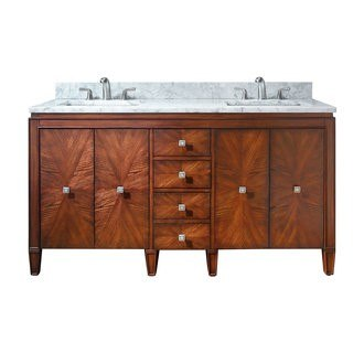 AVANITY BRENTWOOD-VS61-NW-C BRENTWOOD 61 INCH VANITY COMBO WITH CARRERA WHITE MARBLE TOP