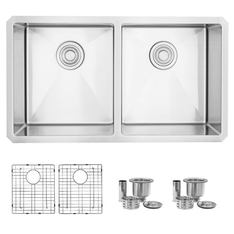 STYLISH S-301G 32 L X 18 W INCH STAINLESS STEEL DOUBLE BASIN UNDERMOUNT KITCHEN SINK WITH STRAINERS