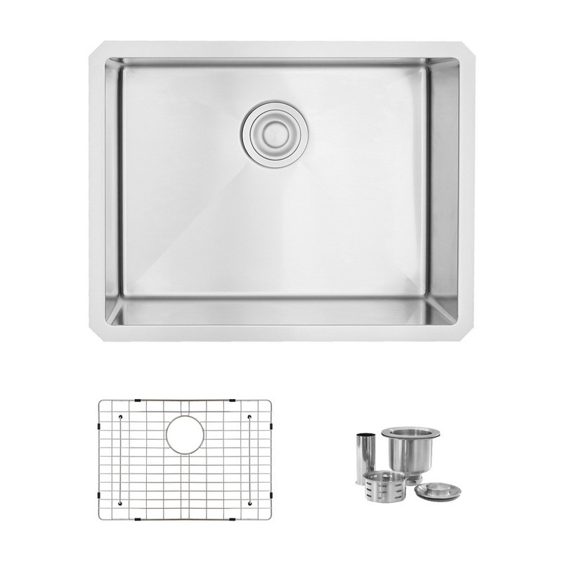 STYLISH S-307XG 23 L X 18 W INCH STAINLESS STEEL SINGLE BASIN UNDERMOUNT KITCHEN SINK WITH GRID AND STRAINER