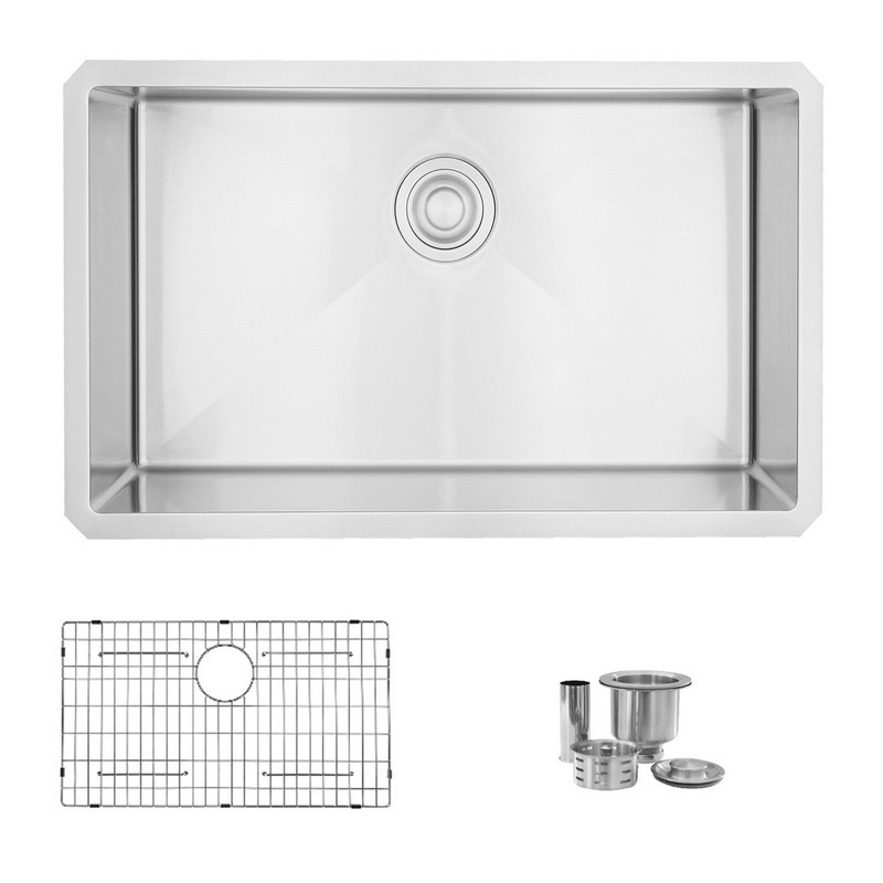 STYLISH S-311XG 30 L X 18 W INCH STAINLESS STEEL SINGLE BASIN UNDERMOUNT KITCHEN SINK WITH GRID AND STRAINER