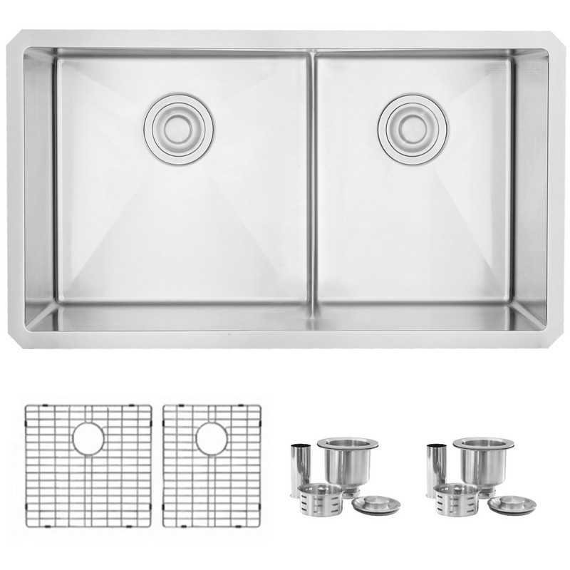 STYLISH S-325XG 32 L X 18 W INCH STAINLESS STEEL DOUBLE BASIN LOW DIVIDER UNDERMOUNT KITCHEN SINK WITH GRIDS AND STRAINERS