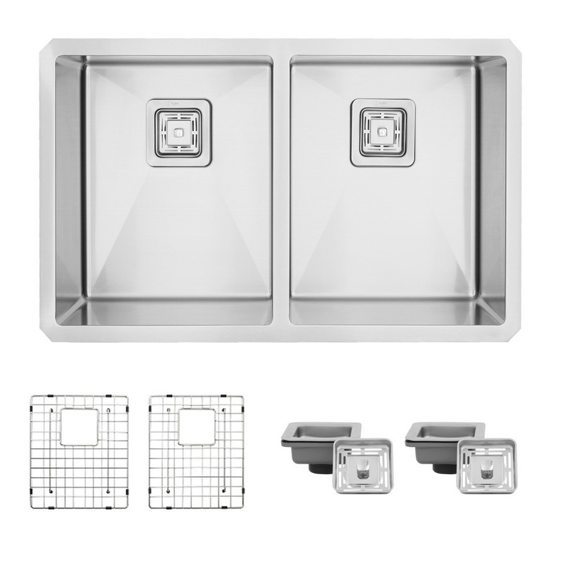 STYLISH S-504XG 30 L X 18 W INCH STAINLESS STEEL DOUBLE BASIN UNDERMOUNT KITCHEN SINK WITH GRIDS AND SQUARE STRAINERS