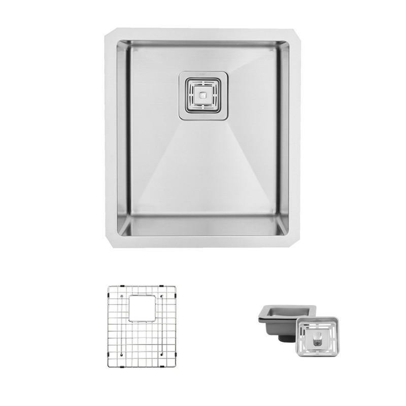 STYLISH S-509XG 16 L X 18 W INCH STAINLESS STEEL SINGLE BASIN UNDERMOUNT KITCHEN SINK WITH GRID AND SQUARE STRAINER